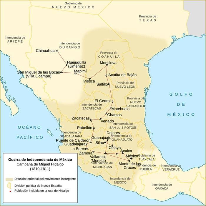 Mapa de la campaña de Hidalgo