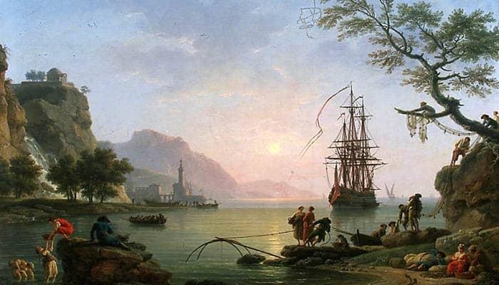 Vista de un puerto por la mañana