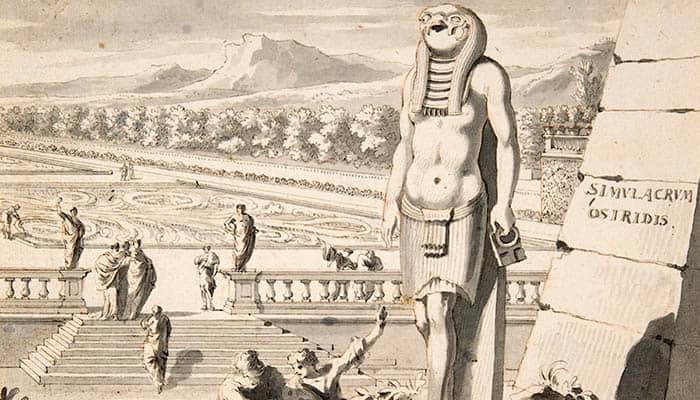 Estatua de Osiris en un jardín
