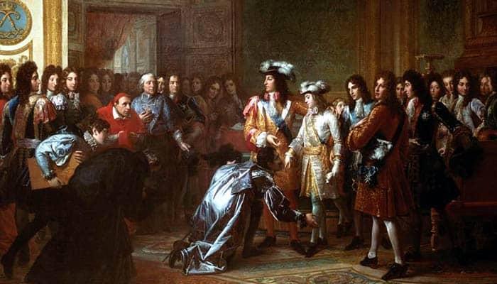 Felipe de Francia, duque de Anjou, proclamado rey Felipe V de España en el Palacio de Versalles el 16 de noviembre de 1700