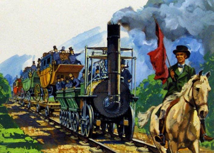 Ilustración de la locomotora de vapor de George Stephenson