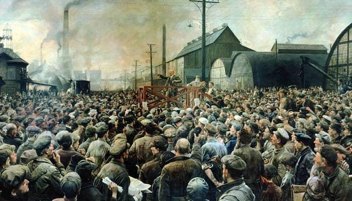 Lenin en la planta de Putilov en mayo de 1917
