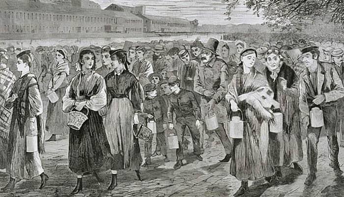 Ilustración de hombres y mujeres tras terminar su jornada laboral