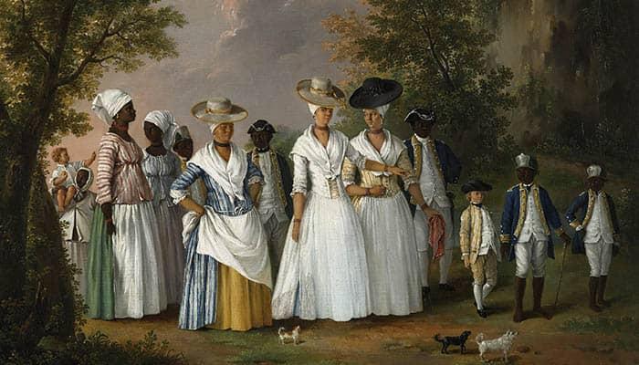 Mujeres libres de color con sus hijos y sirvientes en un paisaje