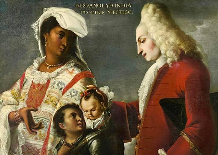 Español y india produce mestiso