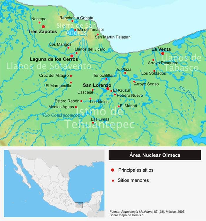 Mapa de la ubicación geográfica de los olmecas
