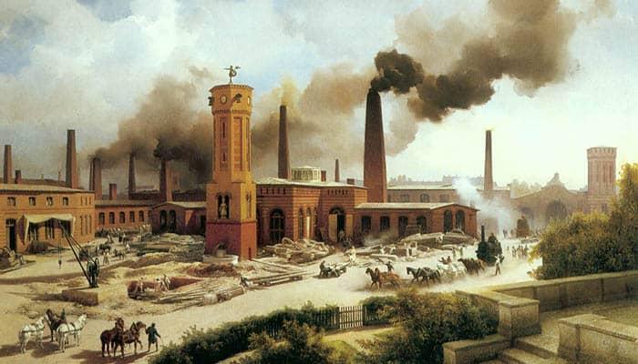 Fábrica en Alemania durante la Revolución Industrial