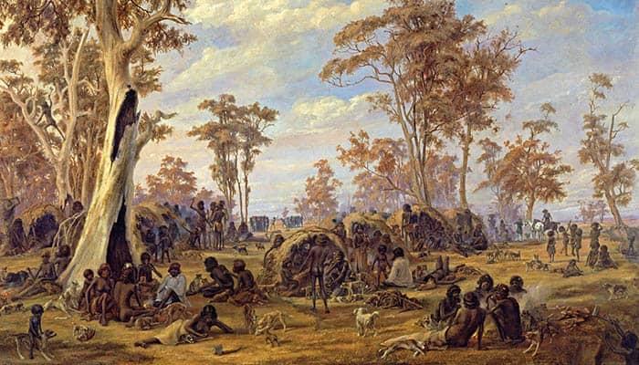 Adelaida, una tribu de nativos a orillas del río Torrens