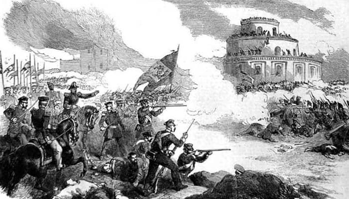 Litografía de la batalla de Caseros centrada en la primera división brasileña