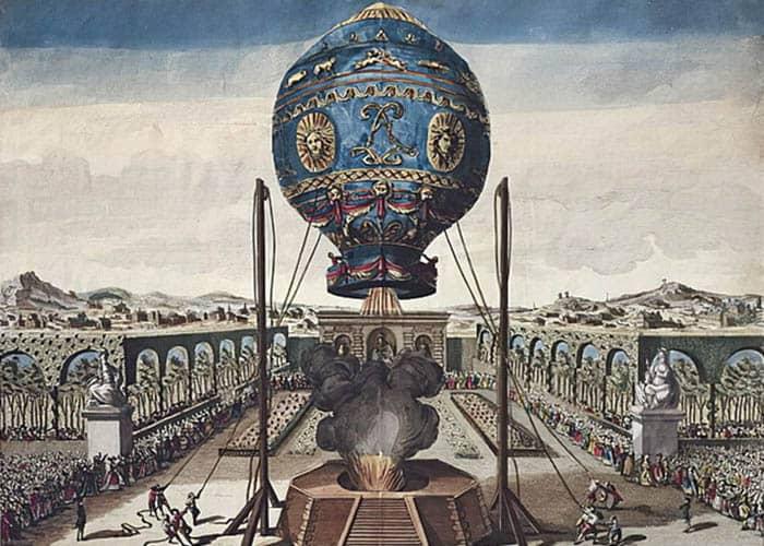 Ilustración de uno de los experimentos de los hermanos Montgolfier