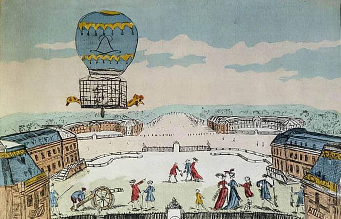 Experimento de los hermanos Montgolfier con un globo tripulado por un gallo, una oveja y un pato
