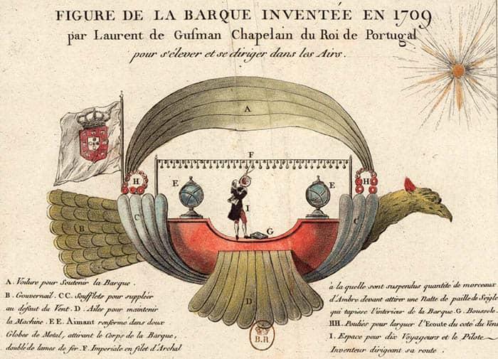 Ilustración de la Passarola de Bartolomeu Lourenço de Gusmão.