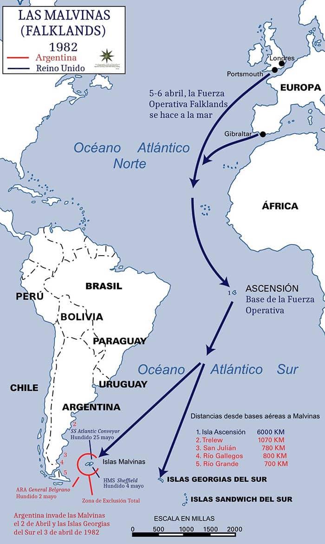 Mapa del teatro de operaciones de la Guerra de las Malvinas