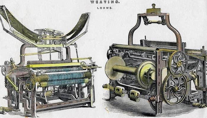 Ilustración de un telar mecánico del siglo XIX