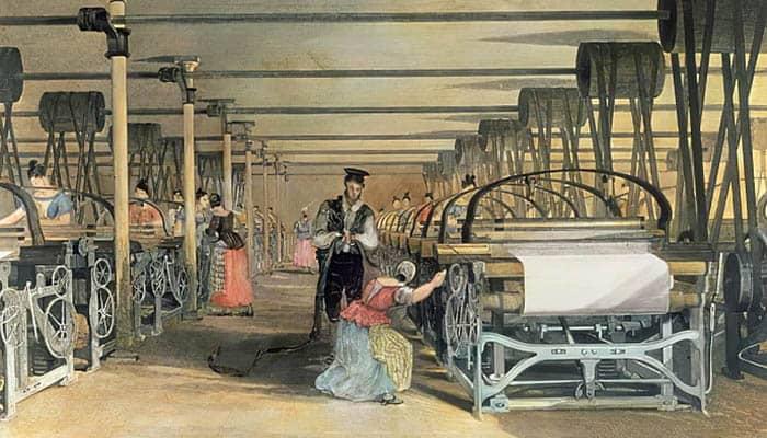 Ilustración de unas mujeres trabajando en distintos telares mecánicos