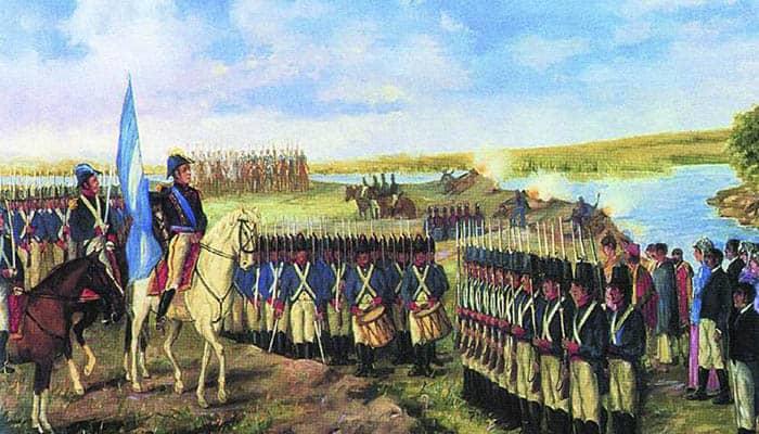 Ilustración de Manuel Belgrano llevando la bandera argentina por primera vez