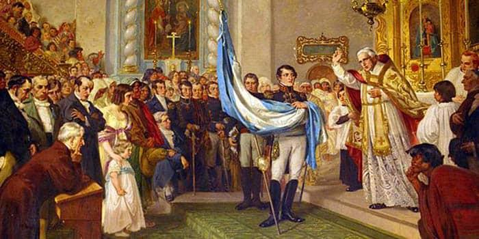 Bendición de la bandera nacional el 25 de mayo de 1812 por el canónigo Juan Ignacio Gorriti sostenida por Manuel Belgrano