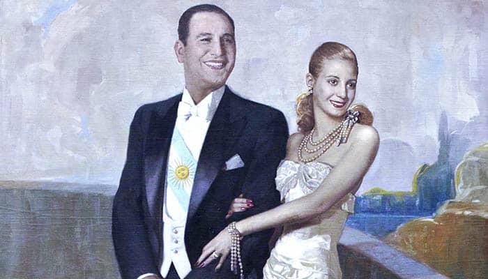 Retrato del Presidente Juan Domingo Perón y su señora esposa María Eva Duarte de Perón