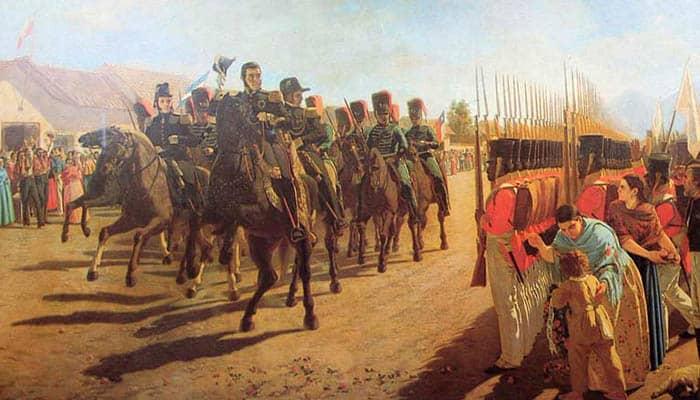 José de San Martín en la revista de Rancagua