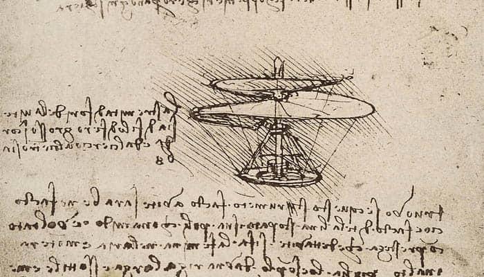 El tornillo aéreo de Leonardo da Vinci