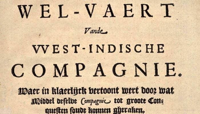 Folleto de la Compañía Neerlandesa de las Indias Occidentales