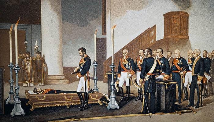 El rey Amadeo I contemplando el cadáver del general Prim