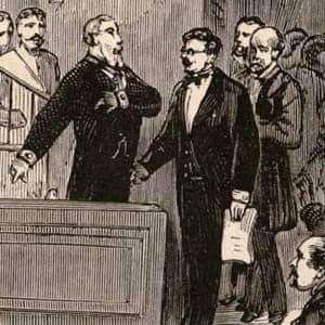 Ilustración de Francisco Pi y Margal haciéndose cargo de la presidencia de la Primera República Española