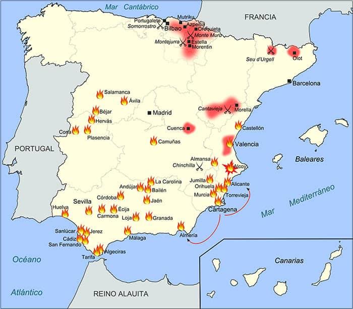Mapa de los conflictos surgidos en la Primera República Española