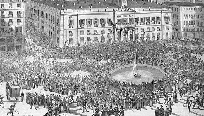 Puerta del Sol durante la mañana del 29 de septiembre 1868