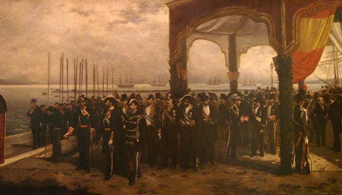Embarque de Amadeo I de Saboya en el puerto de La Spezia para trasladarse a España para tomar posesión del trono