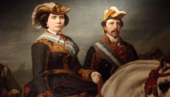 Detalle de Isabel II dirigiendo una revista militar