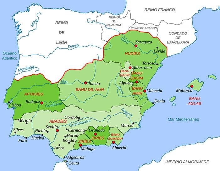 Mapa de los reinos de taifas en el año 1080