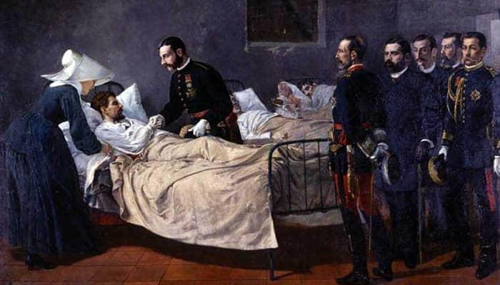 Alfonso XII visitando a los coléricos de Aranjuez