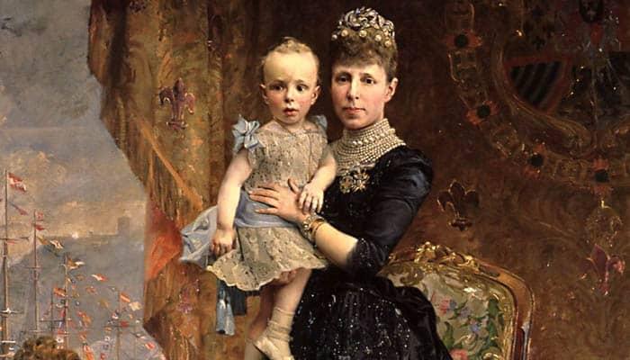 María Cristina de Habsburgo-Lorena y su hijo Alfonso XIII