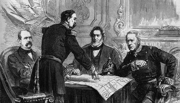 Ilustración de la firma del armisticio tras el sitio de París