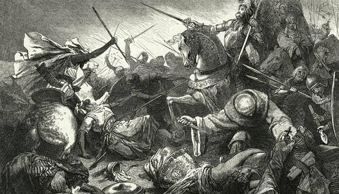 Cristianos luchando contra almohades en la batalla de Las Navas de Tolosa