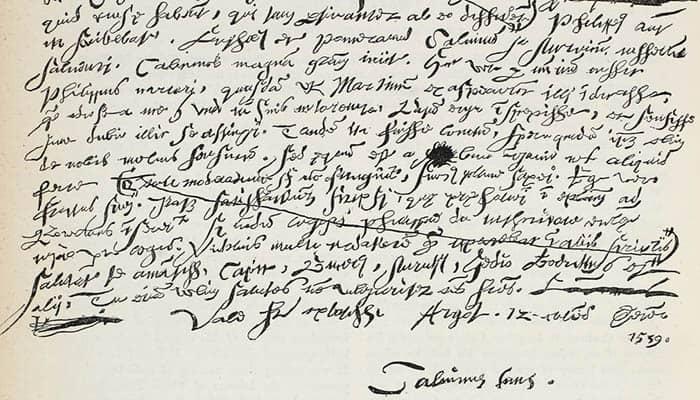 Facsímil de la letra de Calvino