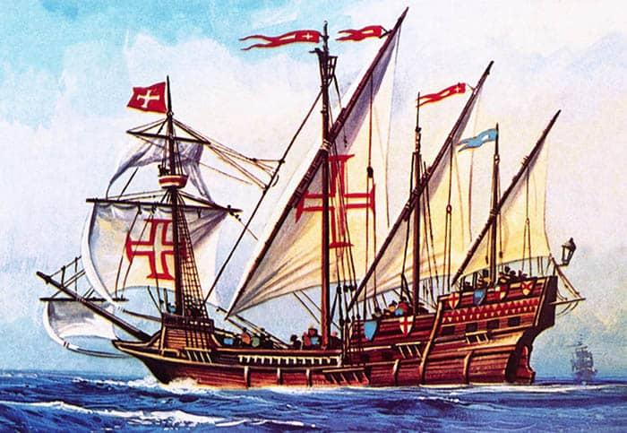 Ilustración de una carabela portuguesa
