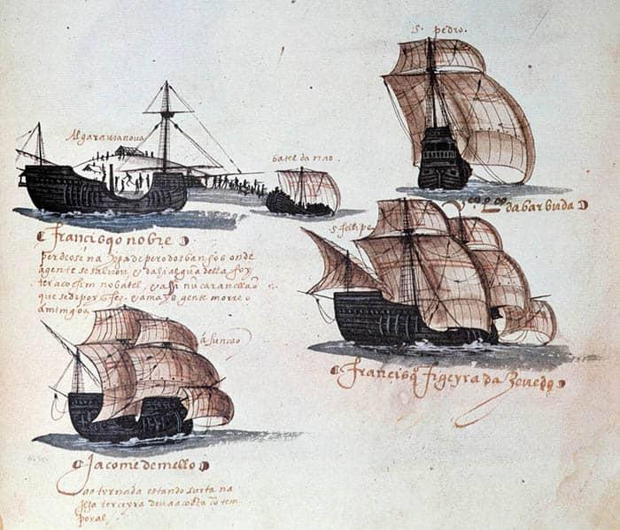Miniatura que representa a las carabelas de la flota portuguesa