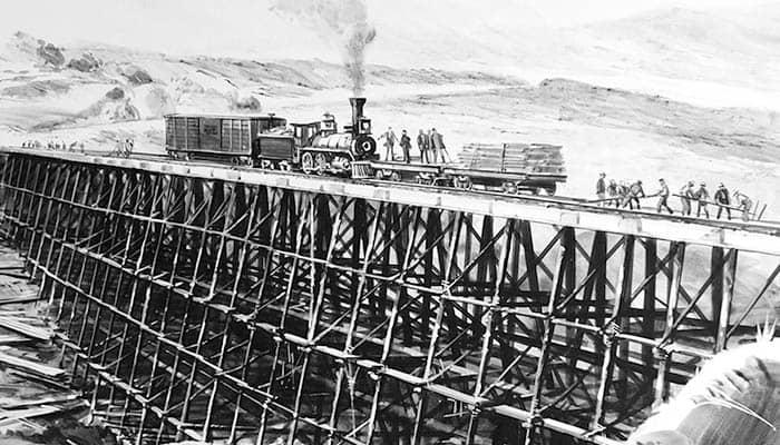 Construcción del ferrocarril de la Union Pacific