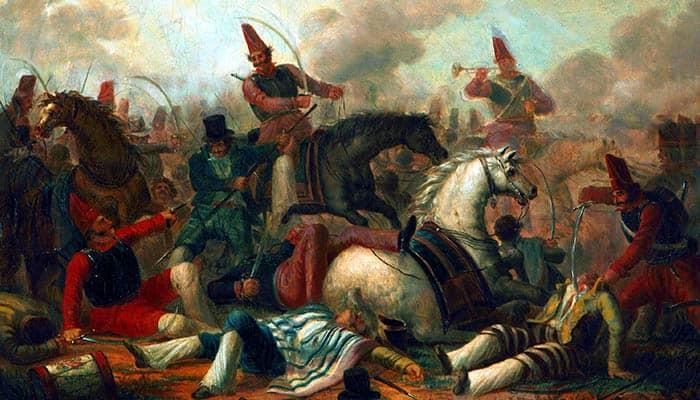 Combate de caballería en la época de Rosas