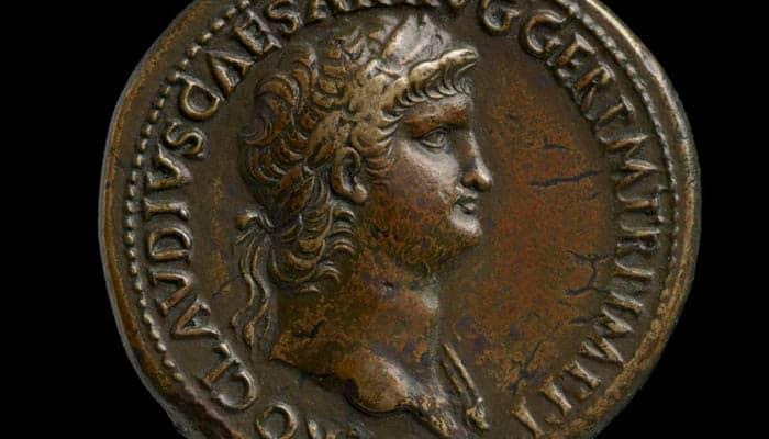 Moneda con la figura del emperador Nerón