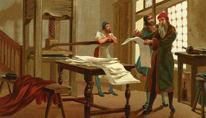 Gutenberg imprime la primera página de la Biblia