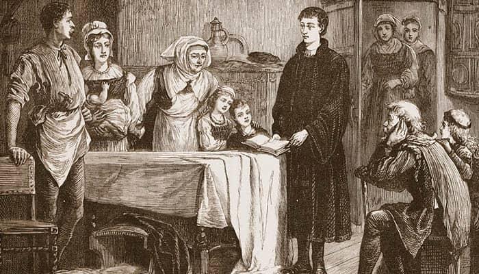 Un joven Juan Calvino exponiendo la Biblia a una familia de Bourges