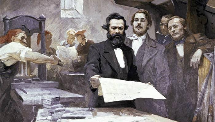 Karl Marx y Friedrich Engels en la imprenta de la Nueva Gaceta Renana