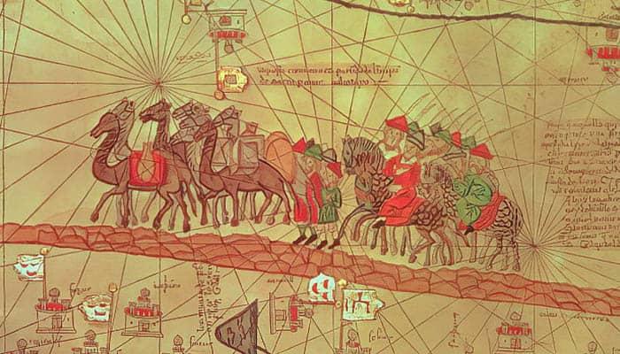 La familia de Marco Polo viaja en una caravana de camellos hacia China