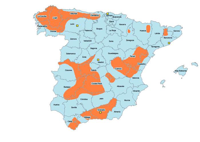 Mapa de la actividad de los maquis durante la dictadura de Francisco Franco