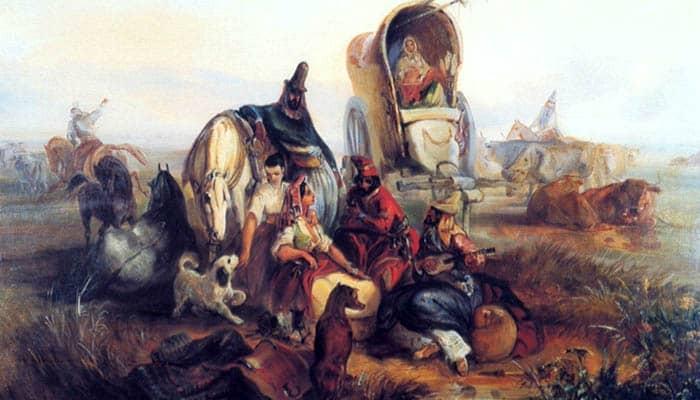 Gauchos argentinos descansando en las Pampas