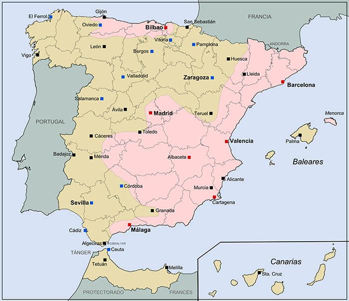 Mapa de la guerra civil española