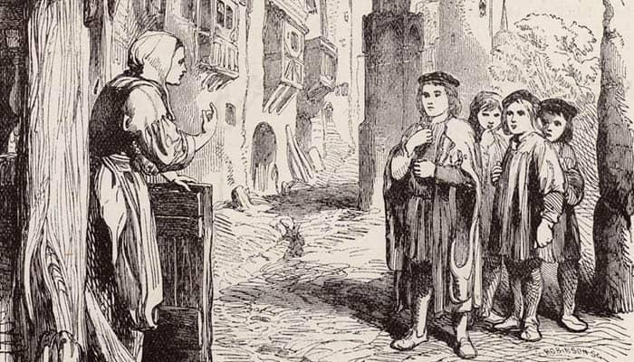 Martín Lutero cantando de niño en las calles de Eisenach